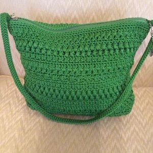 Vintage crocheted green sak purse